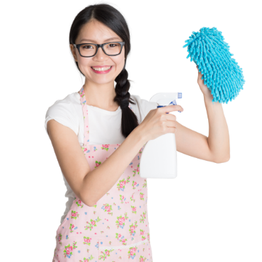 girl with ckeaning items