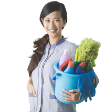 Smiling girl with cleaning items